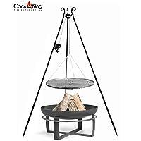Schwenkgrill CookKing Viking schwarz XXL Edelstahl Garten ✔ rund dreieckig ✔ schwenkbar ✔ Grillen mit Holzkohle ✔ mit Dreibeinen