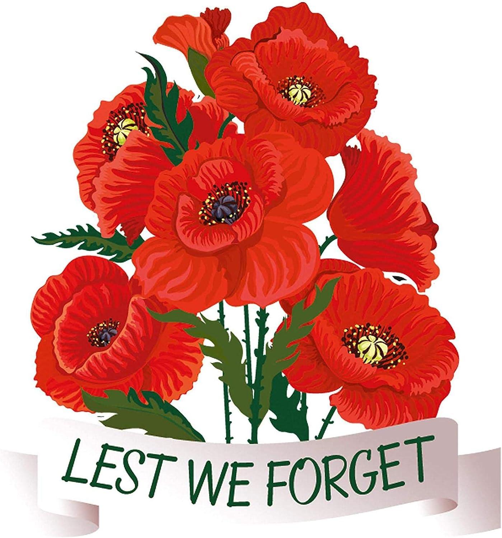 CHUWUJU Lest We Forget Poppy Flower Sticker, PVC Poppy Spray Static Cling Window Sticker, Remembrance Day Poppy Window Sticker, Urban Art Window, Car, Laptop Decal - 30x25cm