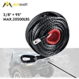 "AUXMART Synthetic Winch Rope Winch Line Cable 20500LBs Protective Sleeve 95ft x 3/8"" for ATV UTV SUV Truck Boat Ramsey"
