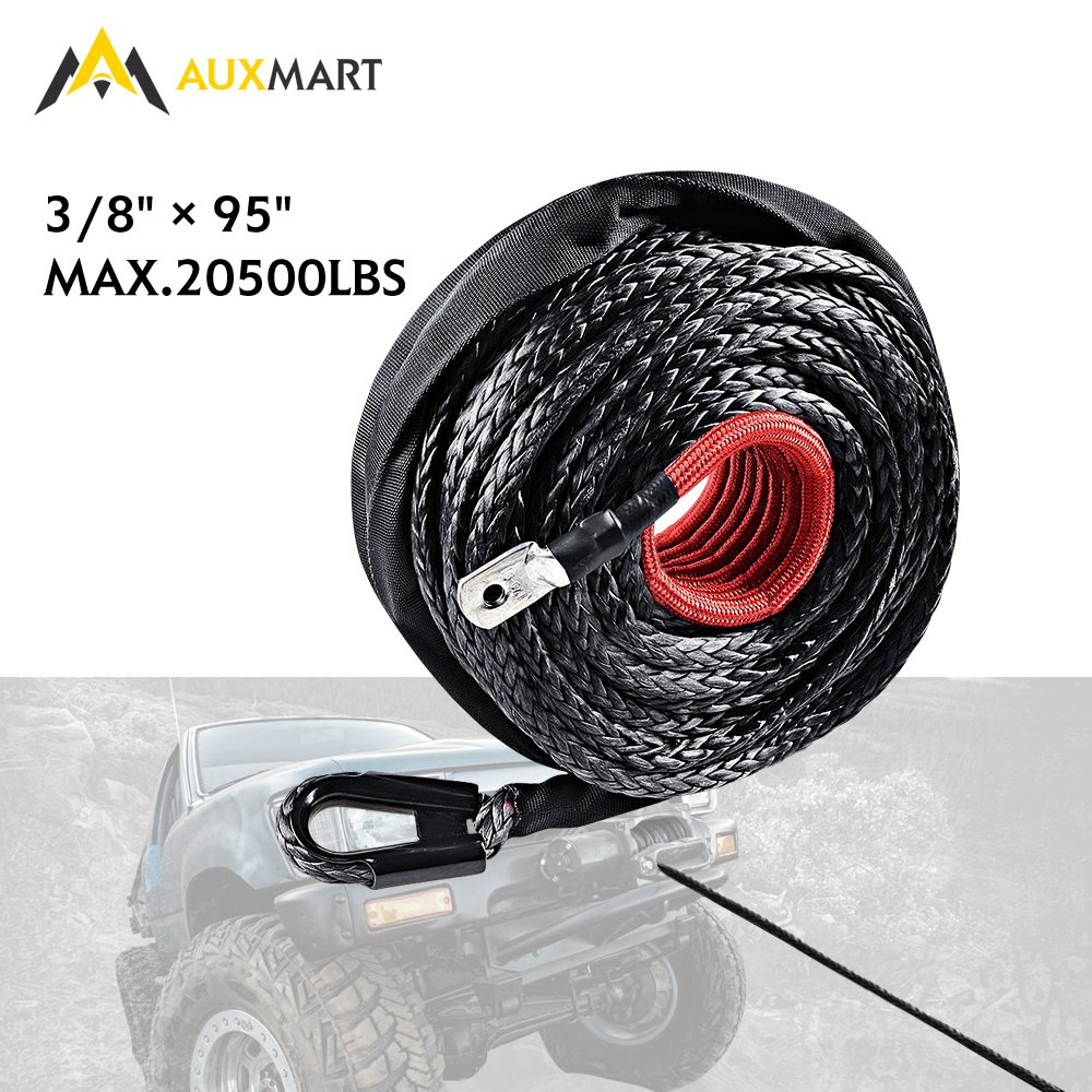 AUXMART Synthetic Winch Rope Winch Line Cable 20500LBs Protective Sleeve 95ft x 3/8'' for ATV UTV SUV Truck Boat Ramsey