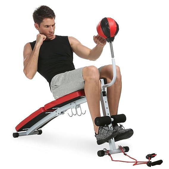 mymotto multifuncional ajustable banco de musculación plegable ABDOMINAL ejercicios con bandas de resistencia, Punchingball y pesa - Aparato de fitness de ...
