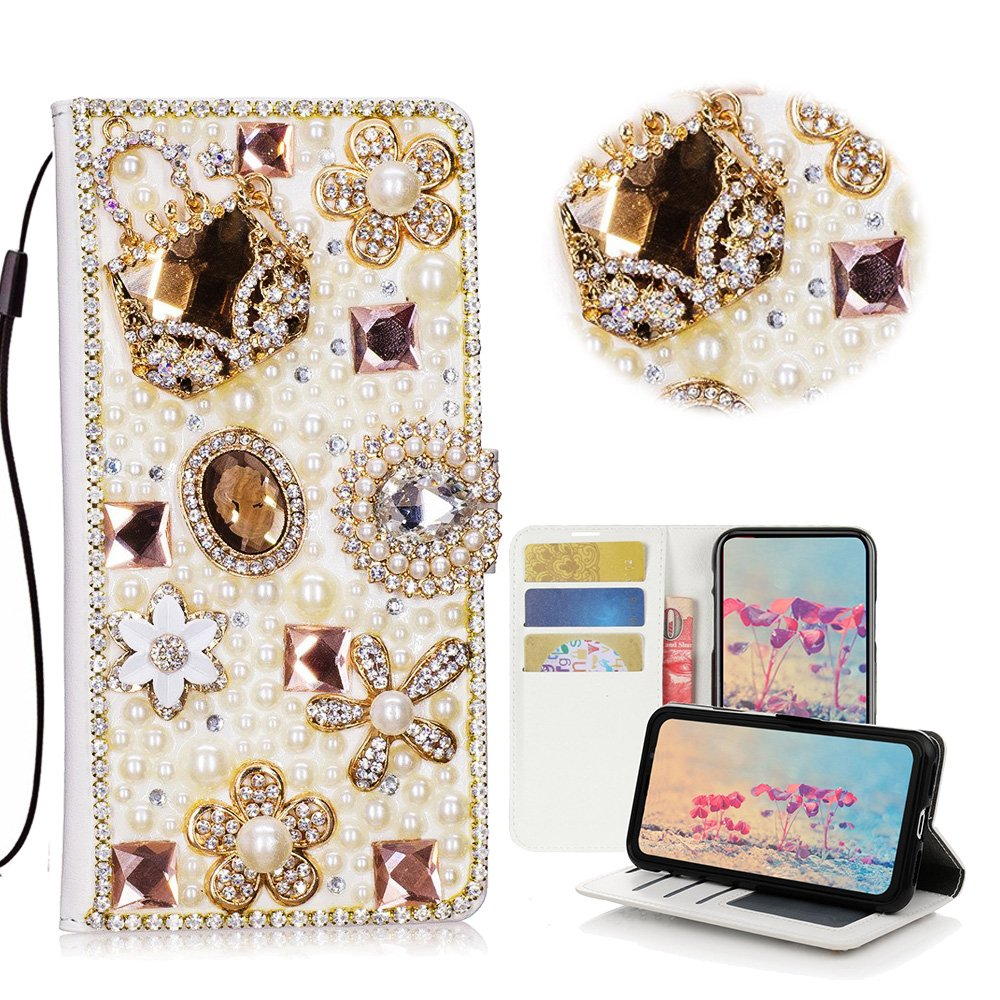 STENES iPhone 8 Plus Case - STYLISH - 3D Handmade Bling Crystal Bag Flowers Floral Desgin Wallet Credit Card Slots Fold Media Stand Leather Case for iPhone 7 Plus / iPhone 8 Plus - Gold