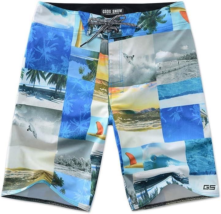 501853858ec73 Amazon.com  GSOU SNOW Colorful Mens Summer Beach Shorts Quick Dry Swim  Trunks Casual Wear(COLORFUL