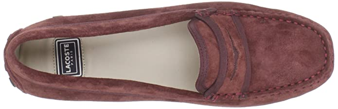 32ca96b6dff9f9 Lacoste Concours 3 Womens Burgundy Moc Suede Loafers Shoes Size UK 7.5   Amazon.co.uk  Shoes   Bags