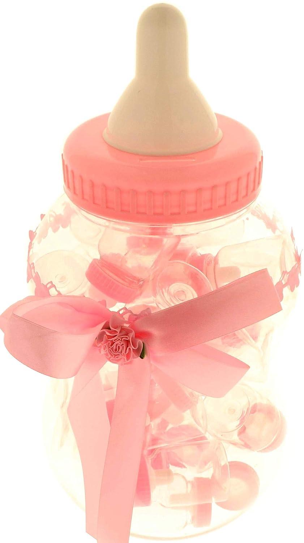 Bombonera con forma de Biberón gigante, color Rosa, 18 x 36 cm + 30 Biberones pequeños de 4 X 9 cm, para bautizo o cumpleaños