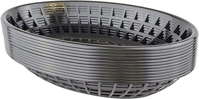 Bear Paws - Food Baskets - Plastic Basket - Oval Bread Baskets - Serving Basket - Restaurant Baskets - Deli Tray - Fries, Burgers, Crawfish - 12 Count, Black