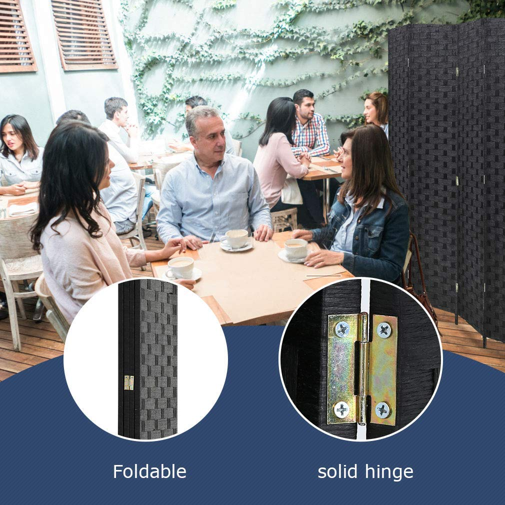Portable Room Divider Free Standing Privacy Folding Screen 4 Panel Partition Wall Dividers Wood Mesh Woven Design with Double-Weaved Hinges for Home Office Black