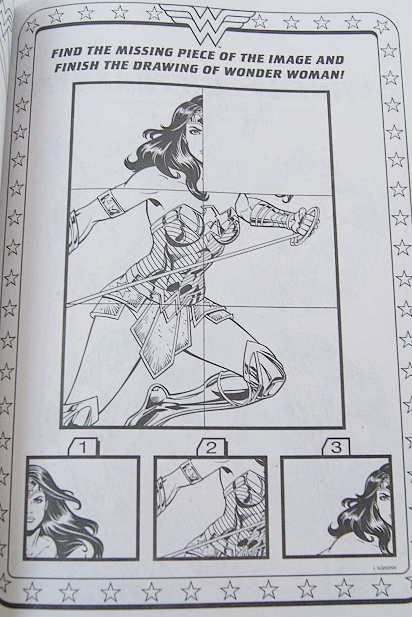 Wonder Woman Coloring and Activity Book with Bonus Stand-Up Character on Back Cover 80 Pages