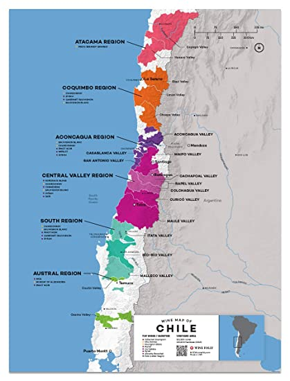 picture regarding California Regions Map Printable referred to as : Wine Folly Chile Wine Map Poster Print, 12\
