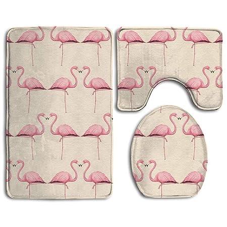 Badteppich 3 Teiliges Badezimmer Teppich Set Pink Flamingo Nonslip