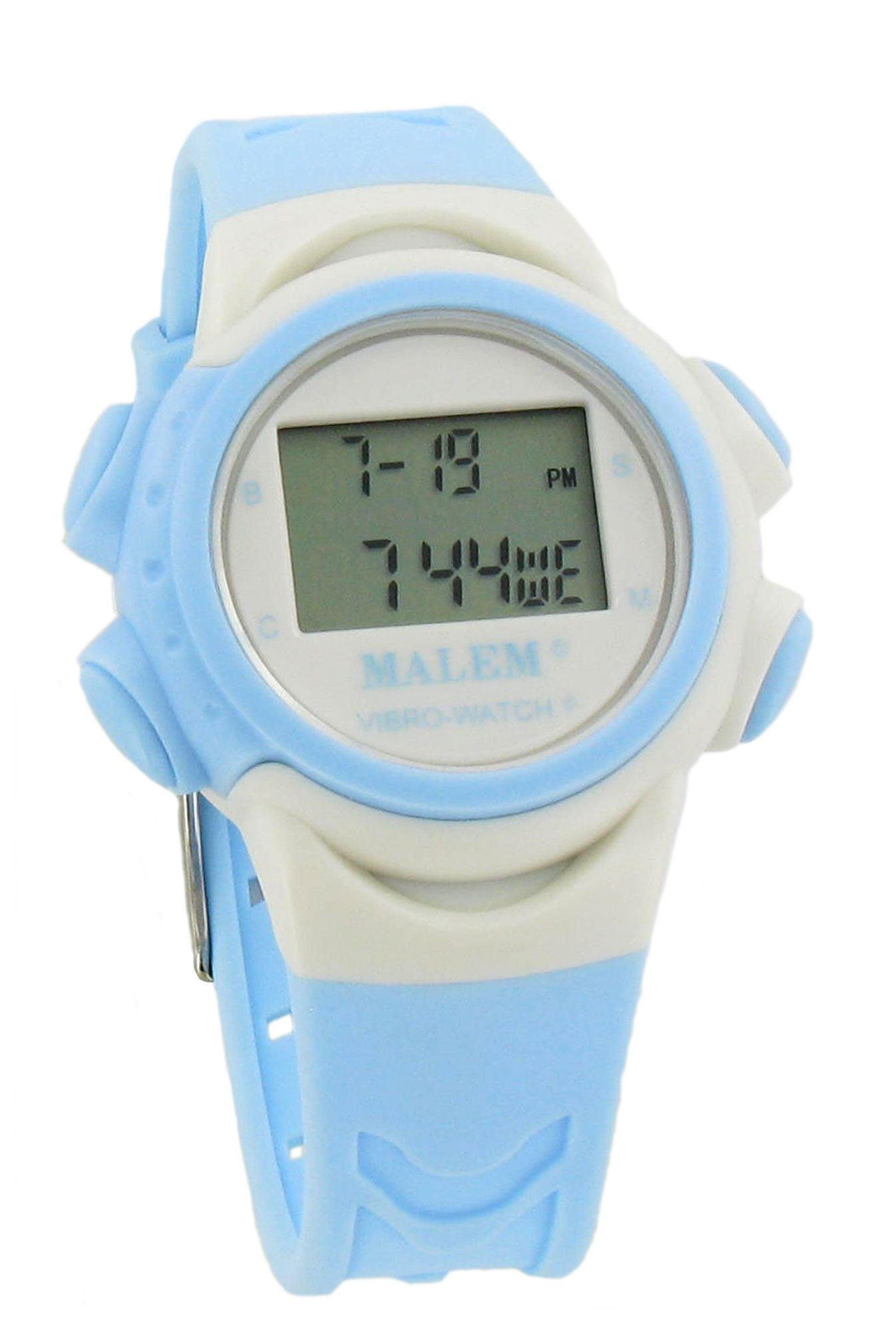 Malem Vibro-Watch 12 Alarm Vibrating Watch - White/Light Blue by Malem
