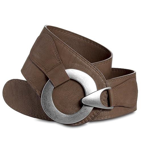 CASPAR GU243 Cinturón Ancho para Mujer con Hebilla Grande Metalizado – Varios Colores
