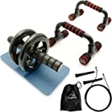 CampTeck U6759 'Training Starter Kit' - Push Up Bars Stand Grip Handles, 10ft Speed Skipping Rope & Ab Roller Wheel Abdominal Exercise for Fitness Strength & Abdominal Training