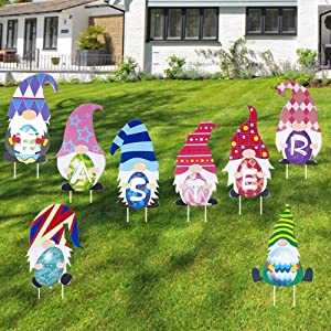 WOJOGO Easter Yard Signs Decoration Outdoor Gnomes Tomte Elf Eggs Easter Lawn Decorations Happy Easter Outside Home Decor