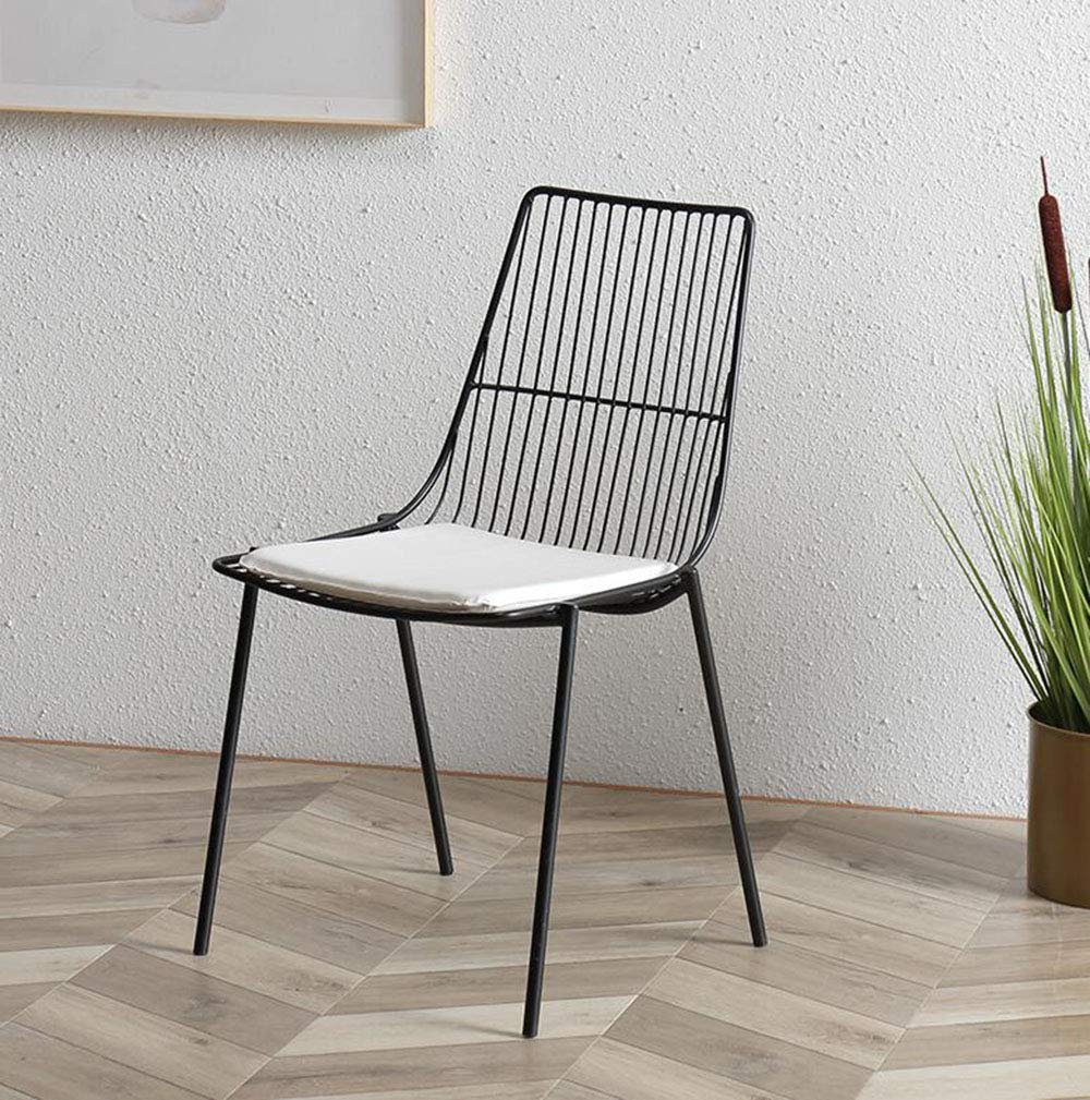 Black FENG Fan Creative Designer Home Dining Chair Stool Personality Fashion Casual Simple Adult Metal Wrought Iron Chair (color   gold)