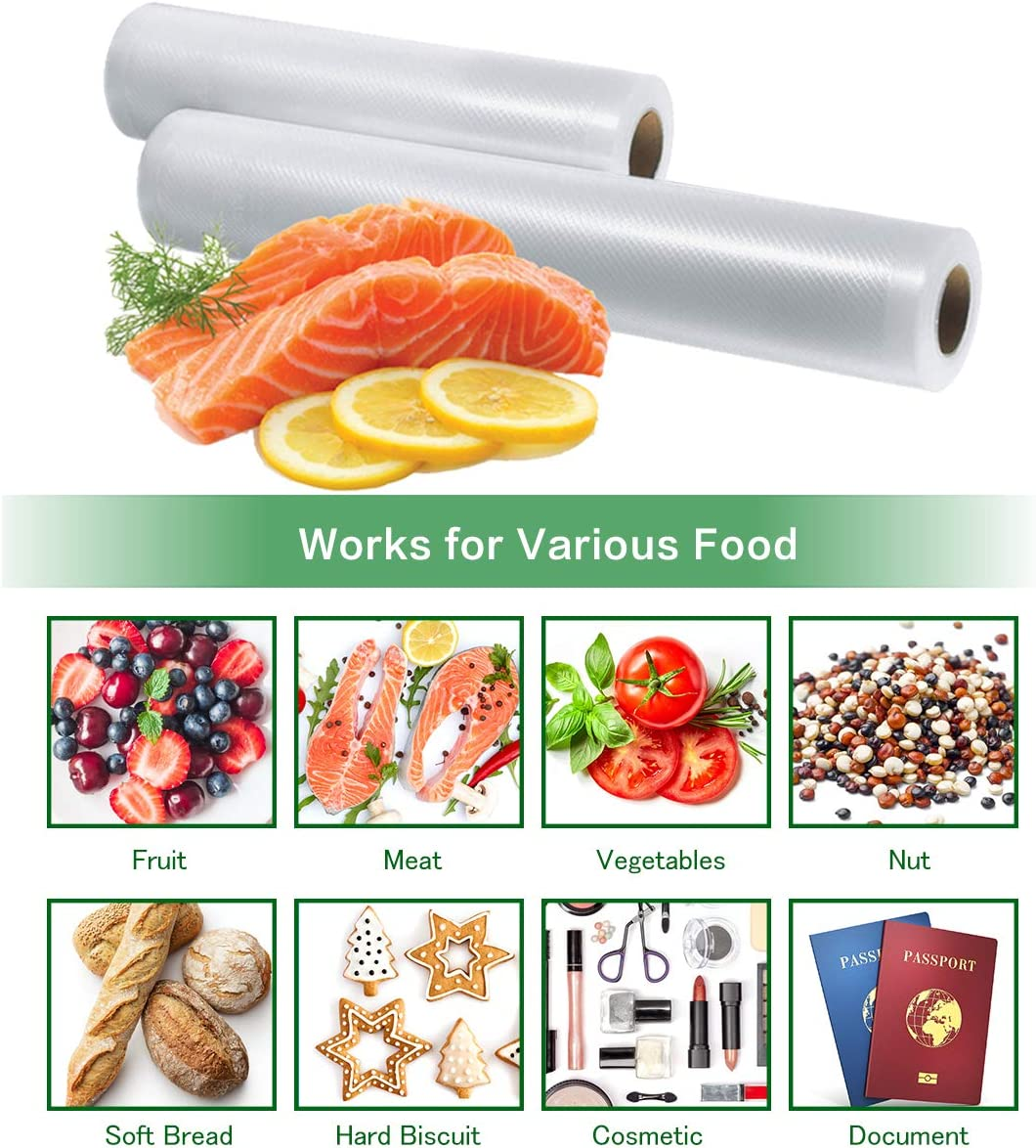 Vacuum Sealer Bags 2 Rolls 8x16.5 and 11x16.5 Vacuum Sealer Rolls for Foodsaver and Sous Vide,Commercial Quality Textured Microwave /& Freezer Safe,Food Saver Bags Rolls