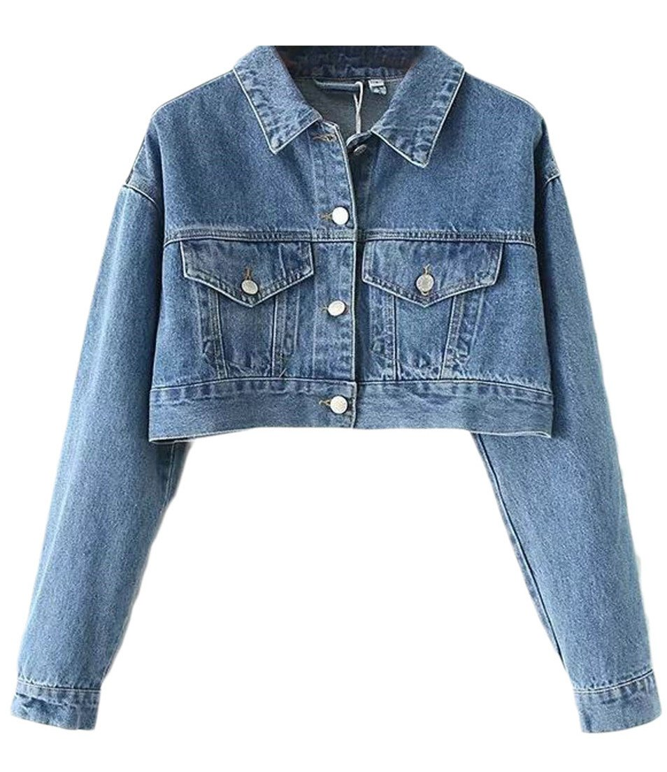 Cruiize Womens Sexy Washed Button Down Crop Tops Outdoor Denim Jacket Blue M