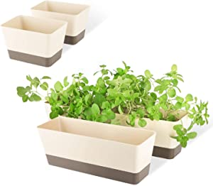 SUREAM Indoor Herb Planter Boxes, 4 Pack Window Box with Tray, Modern Plastic Plant Flower Succulent Cactus Pots for Windowsill, Garden Balcony, Home Office Outdoor Decor(6x3.8, 12x3.8, 16x3.8Inch)