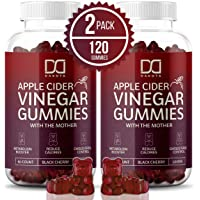 (2 Pack) Organic Apple Cider Vinegar Gummies with The Mother for Immune System - Gummy Alternative to Apple Cider Vinegar Capsules, Pills, ACV Tablets w/Delicious Black Cherry Flavor, 120 Gummy Bears