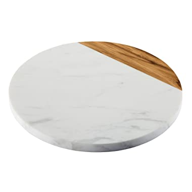 Anolon Pantryware White Marble / Teak Wood Serving Board, 10-Inch Round