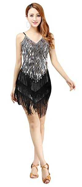 8a0aef1b0d3 BELLYQUEEN Robe Gatsby sans Manche Femme Déguisement Charleston Costume  Années 1920 Vintage Robe Danse Latine Salsa