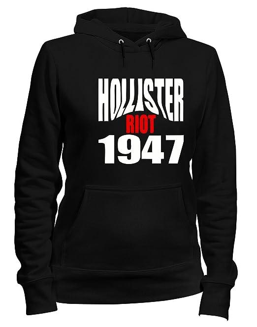 Sudadera con Capucha para Las Mujeras Negro OLDENG00523 Hollister Riot 1947: Amazon.es: Ropa y accesorios