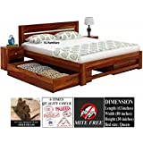 TG Furniture Solid Sheesham Wood Natural Finish Queen Size Bed with Drawer Storage