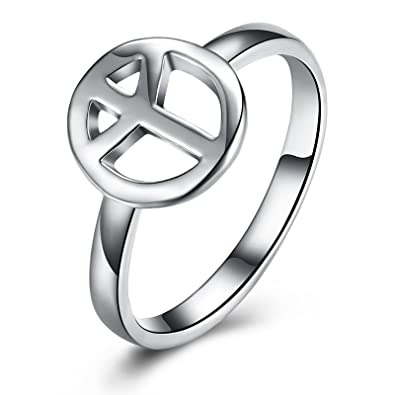 Womens Gold Plated Rings Gold Hollow Peace Symbol Ring Wedding Ring