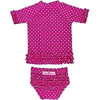 c24b47278aa RuffleButts Little Girls Rash Guard Short Sleeve 2-Piece Swimsuit Set -  Polka Dot Bikini