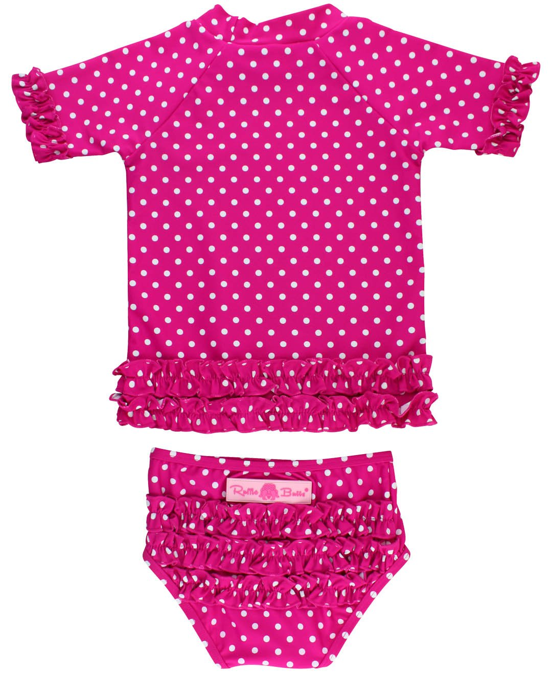 RuffleButts Little Girls Rash Guard 2-Piece Swimsuit Set - Berry Polka Dot Bikini with UPF 50+ Sun Protection - 3T by RuffleButts (Image #1)