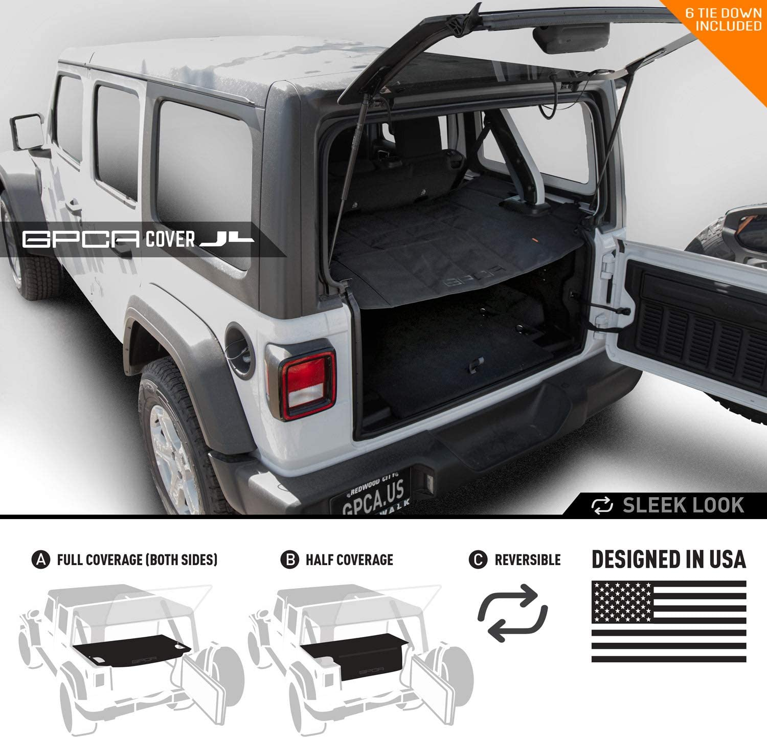 Amazon Com Gpca Wrangler 2018 2020 Jl Unlimited Cargo Cover Pro Reversible For Top On Topless 4dr Jl Sports Sahara Freedom Rubicon Softtop Hardtop Automotive