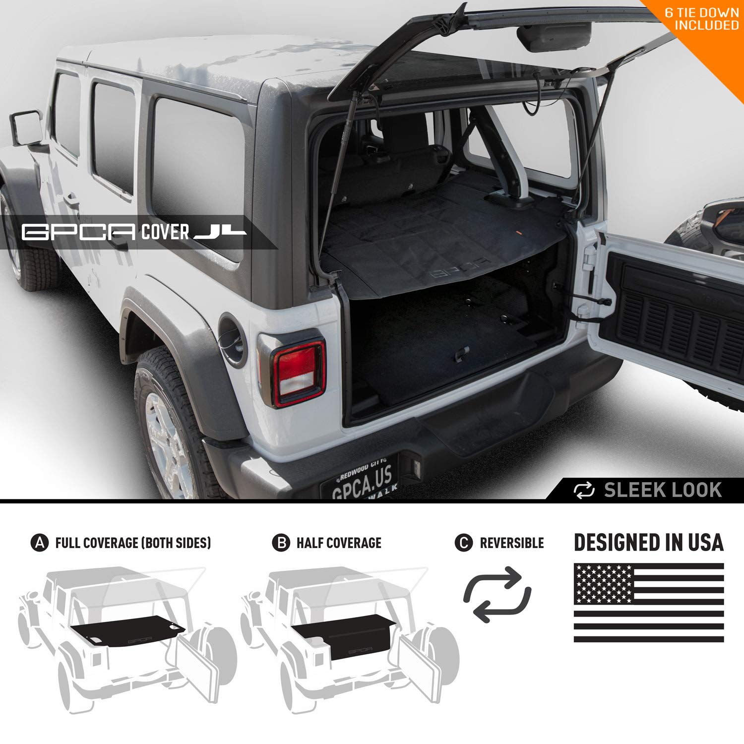 GPCA Wrangler 2018-2019 JL Unlimited Cargo Cover PRO - Reversible TOP ON/Topless 4DR JL Sports/Sahara/ Freedom/Rubicon - Hardtop GPCA Products