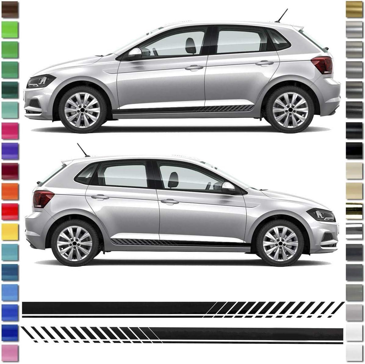 Auto Dress Seiten Streifen Aufkleber Set Dekor Passend Für Vw Polo In Wunschfarbe Schwarz Glanz Auto