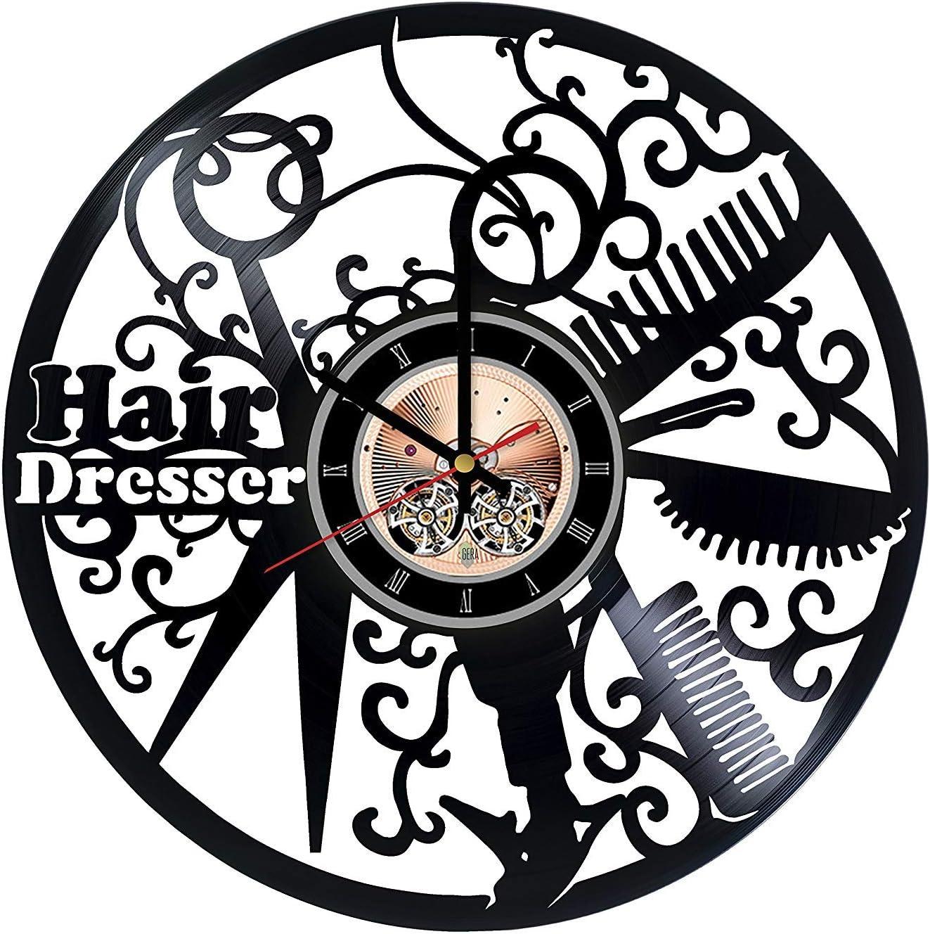 Hair Salon Handmade Vinyl Record Wall Clock - Home Room or Bathroom Wall Decor - Gift Ideas for Men and Women, Girls, Mother – Beautiful Unique Art Design