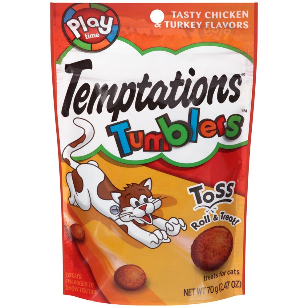 TEMPTATIONS Tumblers Cat Treats Chicken & Turkey 2.47 oz (Pack of 12)