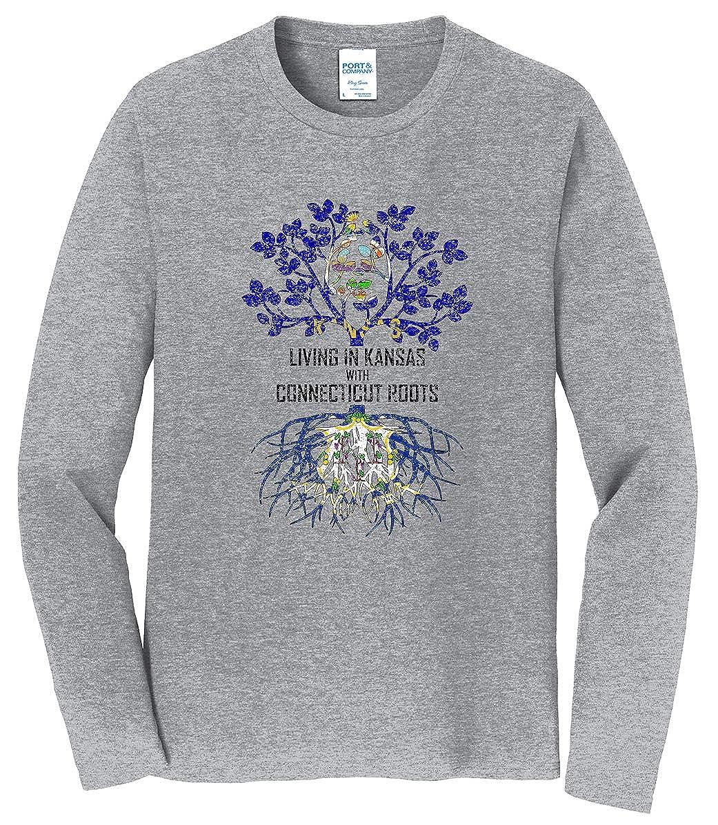 Tenacitee Mens Living in Kansas Connecticut Roots T-Shirt