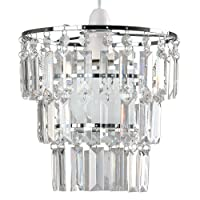 Modern 3 Tier Ceiling Pendant Light Shade with Clear Acrylic Jewel Effect Droplets