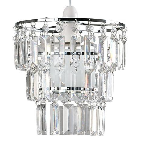 Moderna pantalla para lámpara de techo colgante a tres niveles con gotas acrílicas cristalinas de efecto joya