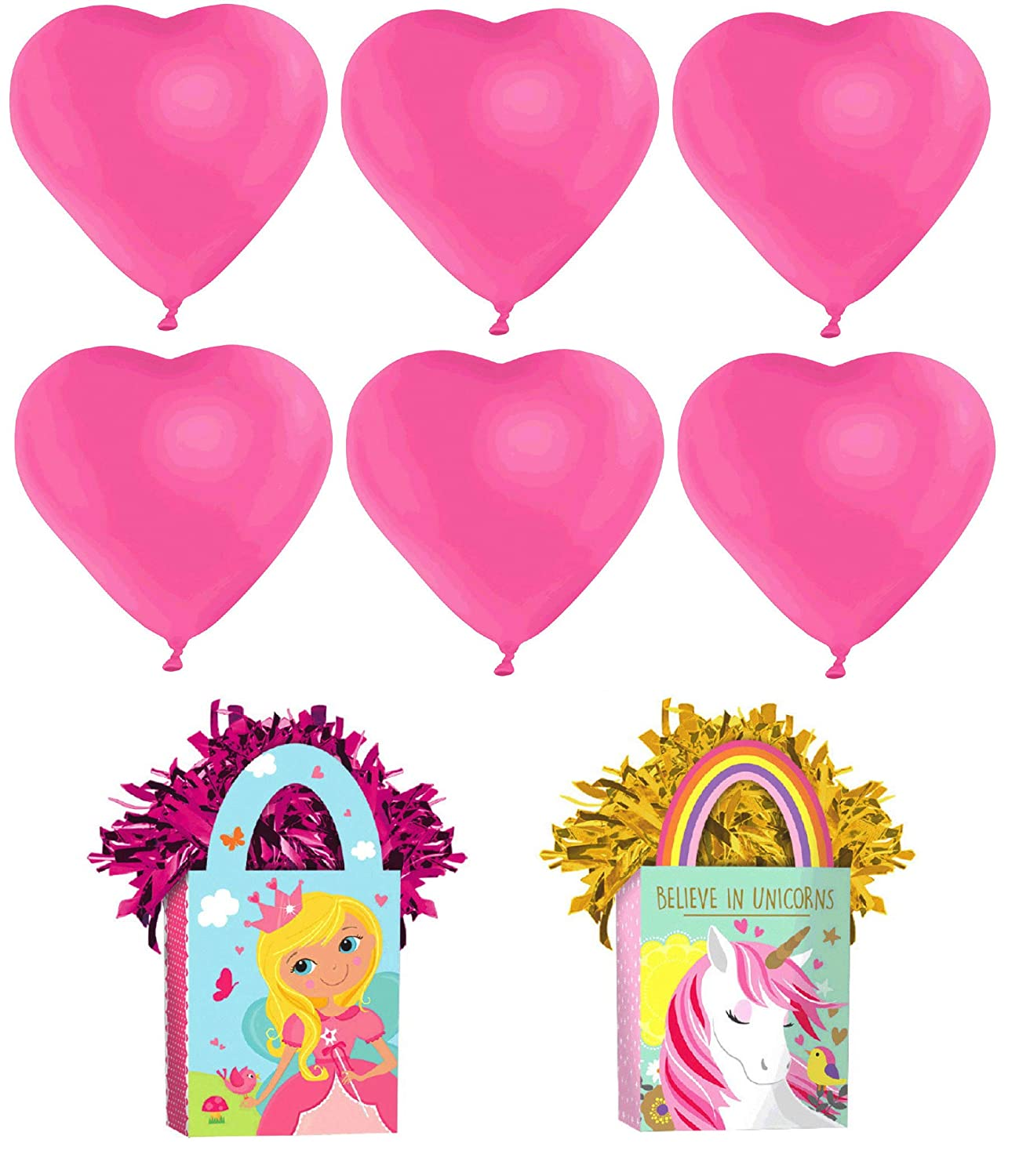 Amscan Heart Shaped Balloons /& Magical Unicorn and Princess Party Mini Tote Balloon Weight Bags