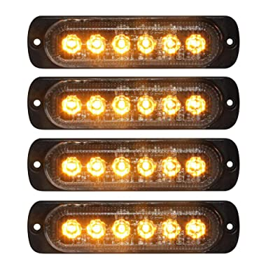 PESIC 4x Amber LED Strobe Warning Emergency Light Bar, Surface Mount Flashing Hazard Caution Construction Light Bar Waterproof For Car Truck Off Road Vehicle Van ATV SUV: Automotive