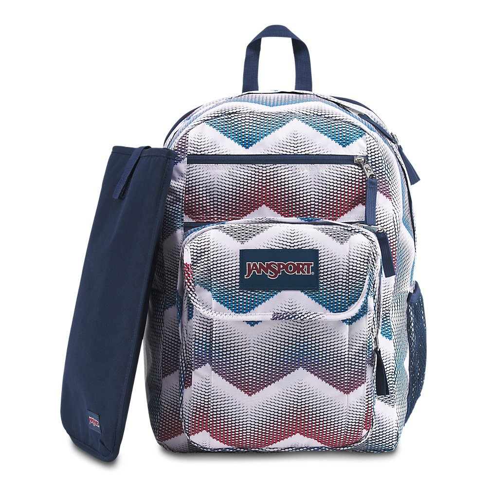 JanSport Digital Student Laptop Backpack – Matrix Chevron White