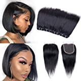 "Peruvian Hair Bundles Straight Hair Bundles with Closure(8"" 8"" 8"" 8""+8""closure) Straight Hair 4 Bundles with Closure 10A Unpr"