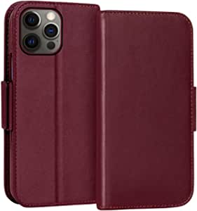 "FYY Case for iPhone 12 Pro Max 5G 6.7"", Luxury [Cowhide Genuine Leather][RFID Blocking] Wallet Case, Flip Folio Case Cover with [Kickstand Function] and [Card Slots] for iPhone 12 Pro Max 5G Wine Red"