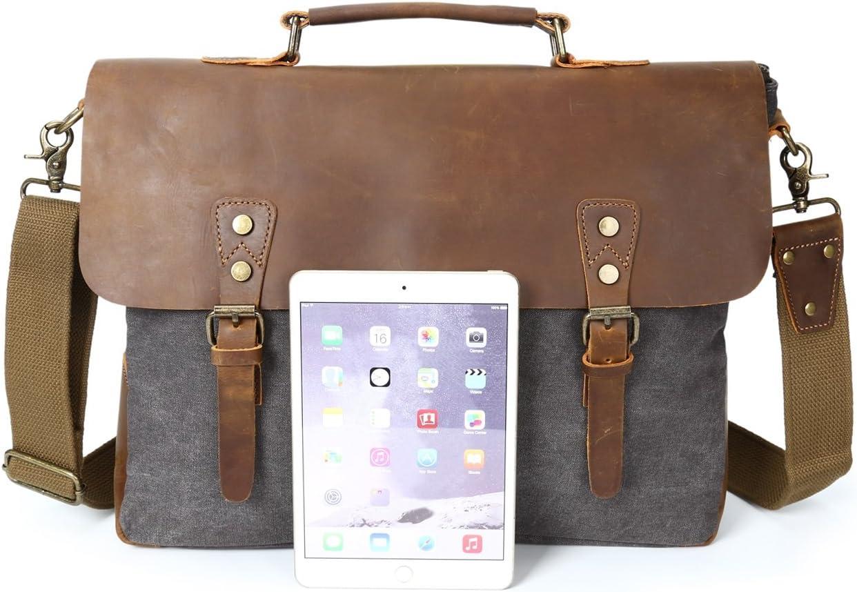 Color : Blue, Size : M Mens Shoulder Bag Retro Crazy Horseskin Bag Crossbody Canvas Bag Laptop Bag