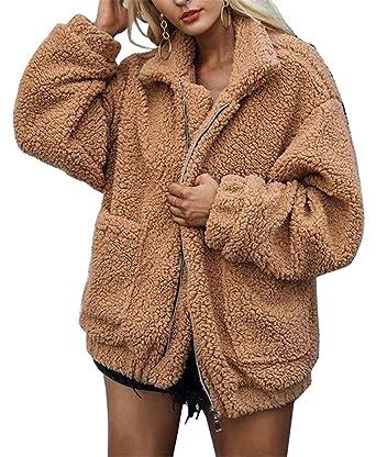 efc1c02e9ed Jotebriyo Womens Winter Solid Color Faux Fur Warm Zip Up Loose Plus Size  Cardigan Coat Outerwear at Amazon Women s Coats Shop
