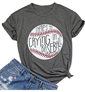1f45c7fc1c UNIQUEONE There's No Crying in Baseball Letter T-Shirt Women Short Sleeve  Funny Blouse Tee