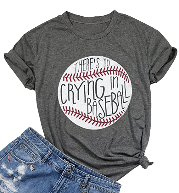 4944f90fe There's No Crying in Baseball Funny T-Shirt Women Casual Short Sleeve Tee  Blouse Size