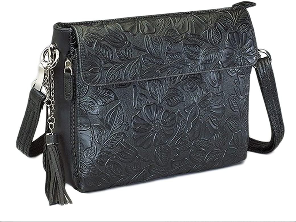 b3e88f1a698 Concealed Carry Purse - Leather Tooled American Cowhide Crossbody Organizer  Bag by GTM