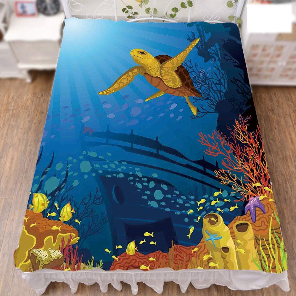 iPrint Bedding Duvet Cover Set 3D Print,with Silhouette School of Fish and Turtle Underwater,Fashion Personality Customization adds Color to Your Bedroom. by 70.9''x78.7''