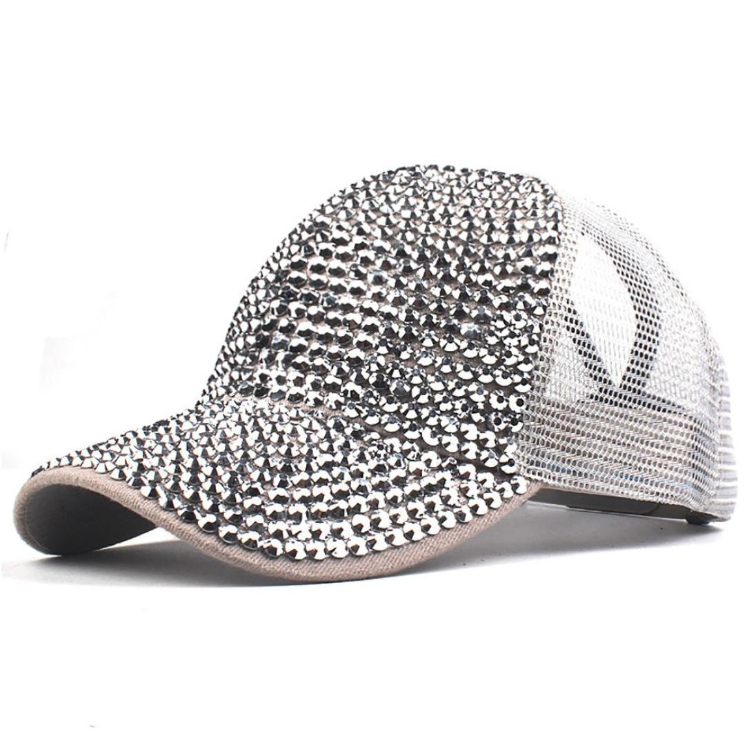 cbd6cacc30e Vertily Hat Retro Rhinestone Mesh Plain Adjstable Baseball Bling Hip-Hop  Diamond (Black) at Amazon Women s Clothing store